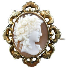 Cameo with Gold Frame; Brooch, Victorian Era, circa 1850