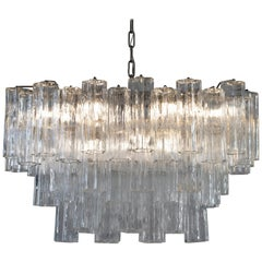 Camer Glass, Large Chromed Steel and Murano Glass Fifty-Six Crystal Chandelier