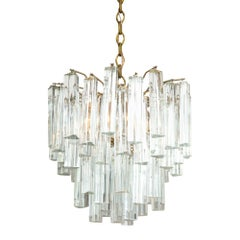 Camer Glass Clear Crystal Pendant Chandelier, Italy, 1960s Signed