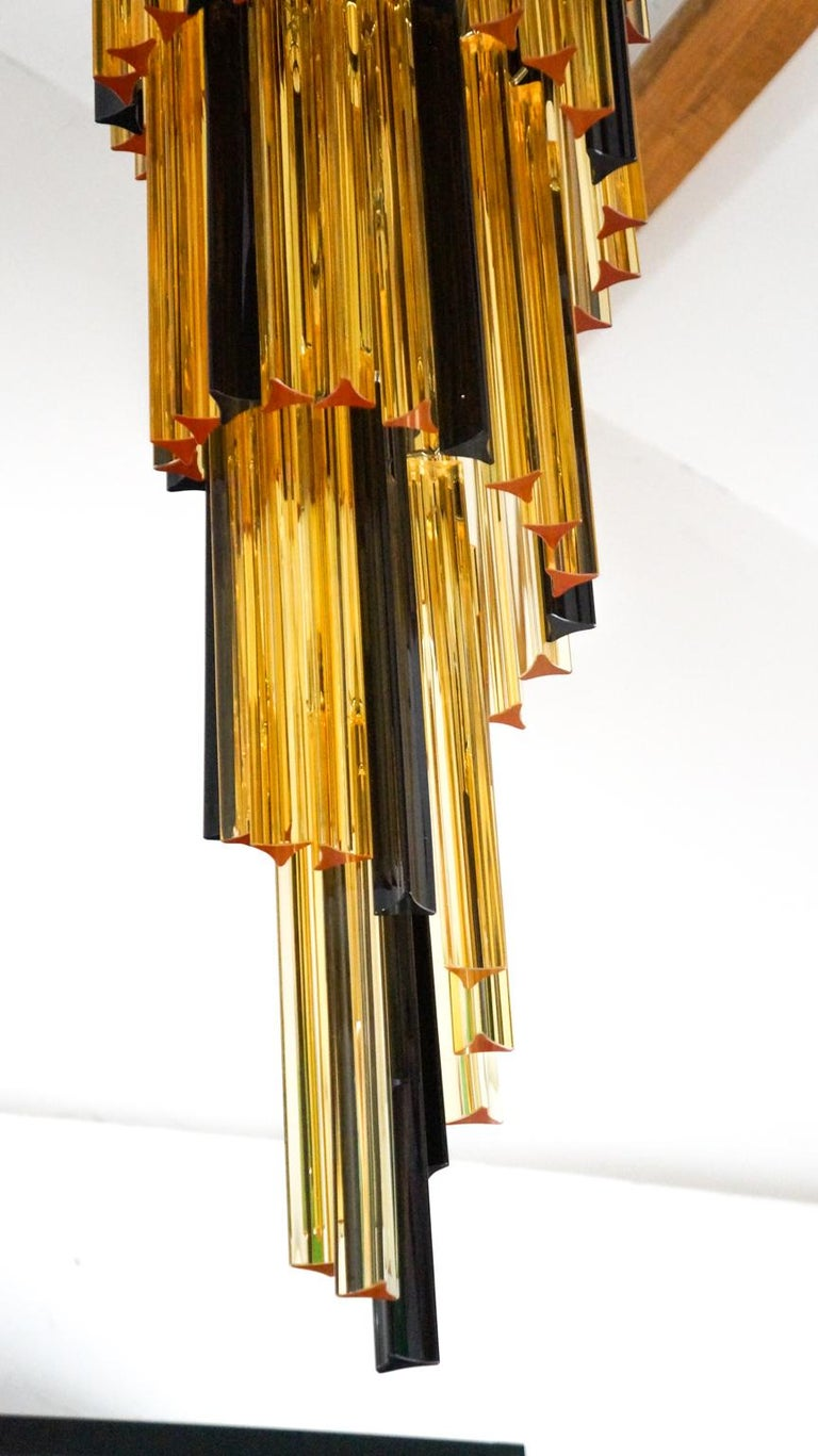 Hand-Crafted Camer Glass Mid-Century Modern Amber Black Triedri Murano Chandelier, 1980 For Sale