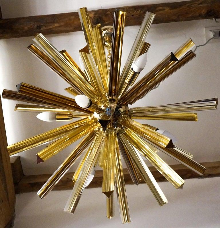 Camer Glass Mid-Century Modern Amber Murano Chandelier Italian Sputnik, 1982 For Sale 4