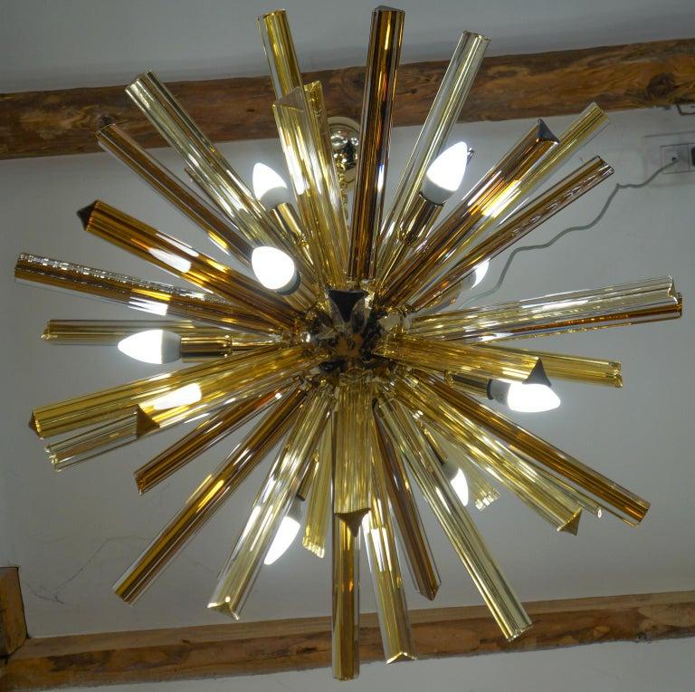 Camer Glass Mid-Century Modern Amber Murano Chandelier Italian Sputnik, 1982 For Sale 5