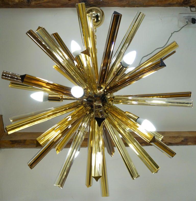 Camer Glass Mid-Century Modern Amber Murano Chandelier Italian Sputnik, 1982 For Sale 6