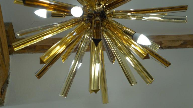 Camer Glass Mid-Century Modern Amber Murano Chandelier Italian Sputnik, 1982 For Sale 7
