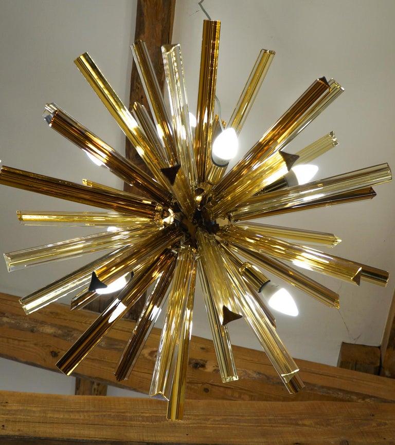 Camer Glass Mid-Century Modern Amber Murano Chandelier Italian Sputnik, 1982 For Sale 8
