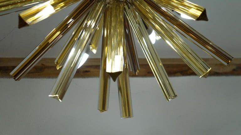 Camer Glass Mid-Century Modern Amber Murano Chandelier Italian Sputnik, 1982 For Sale 9