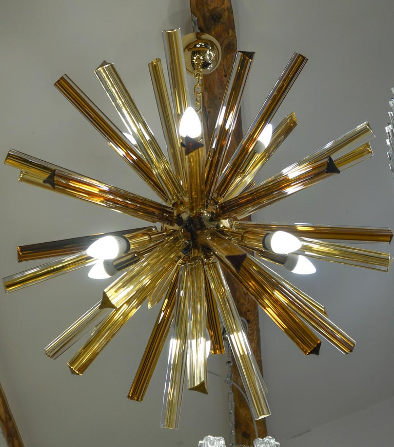 Camer Glass Mid-Century Modern Amber Murano Chandelier Italian Sputnik, 1982 For Sale 10