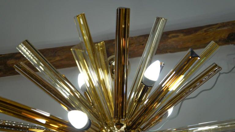 Camer Glass Mid-Century Modern Amber Murano Chandelier Italian Sputnik, 1982 For Sale 11