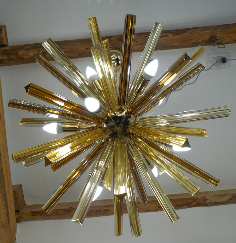 Camer Glass Mid-Century Modern Amber Murano Chandelier Italian Sputnik, 1982 For Sale 13
