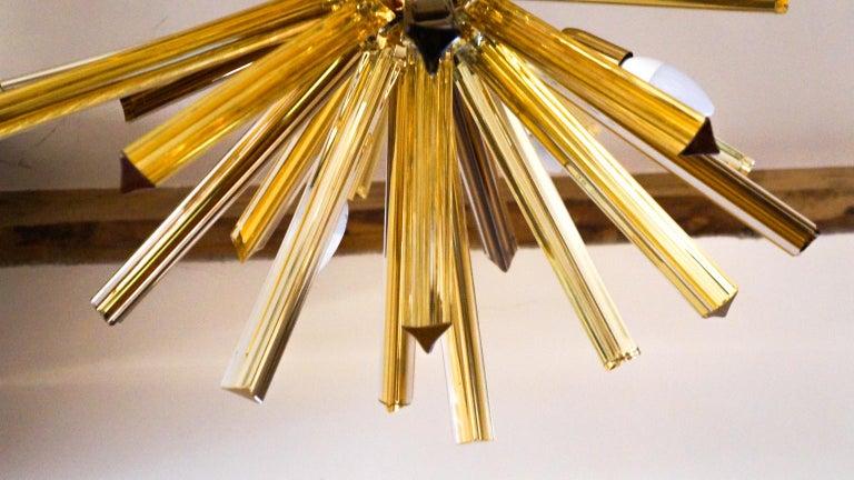 Late 20th Century Camer Glass Mid-Century Modern Amber Murano Chandelier Italian Sputnik, 1982 For Sale