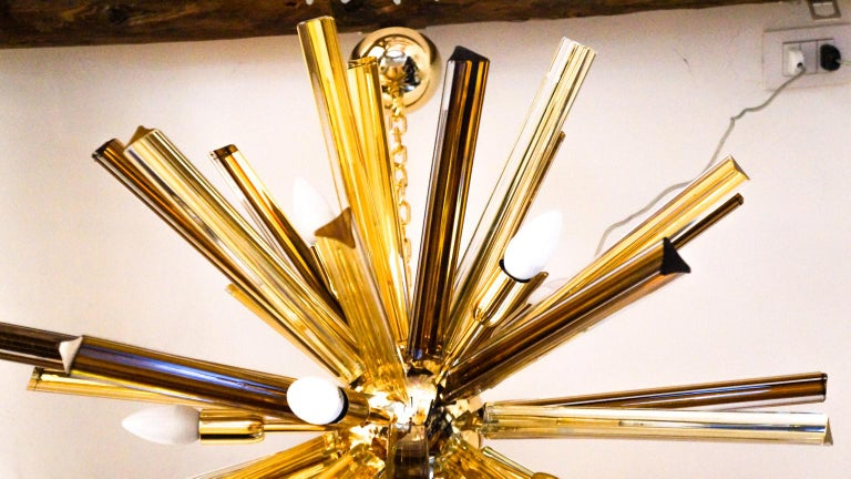 Art Glass Camer Glass Mid-Century Modern Amber Murano Chandelier Italian Sputnik, 1982 For Sale