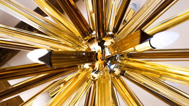 Camer Glass Mid-Century Modern Amber Murano Chandelier Italian Sputnik, 1982 For Sale 1