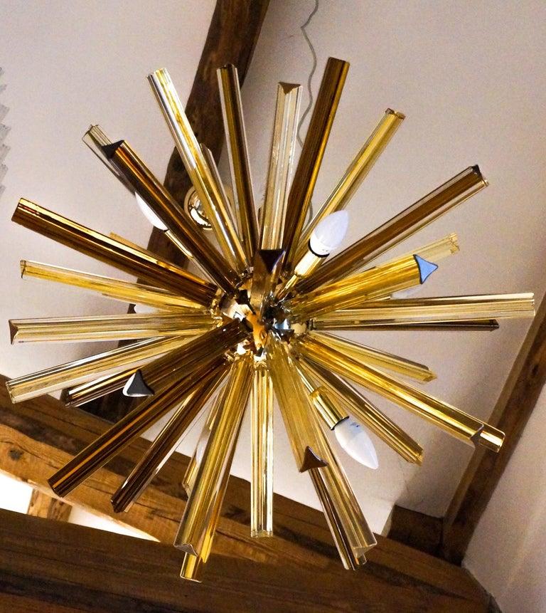 Camer Glass Mid-Century Modern Amber Murano Chandelier Italian Sputnik, 1982 For Sale 2