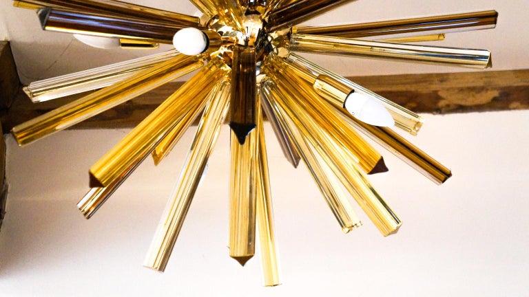 Camer Glass Mid-Century Modern Amber Murano Chandelier Italian Sputnik, 1982 For Sale 3