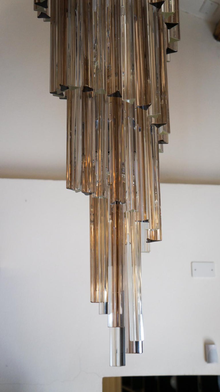 Camer Glass Mid-Century Modern Crystal Amethyst Triedri Murano Chandelier, 1980 For Sale 8