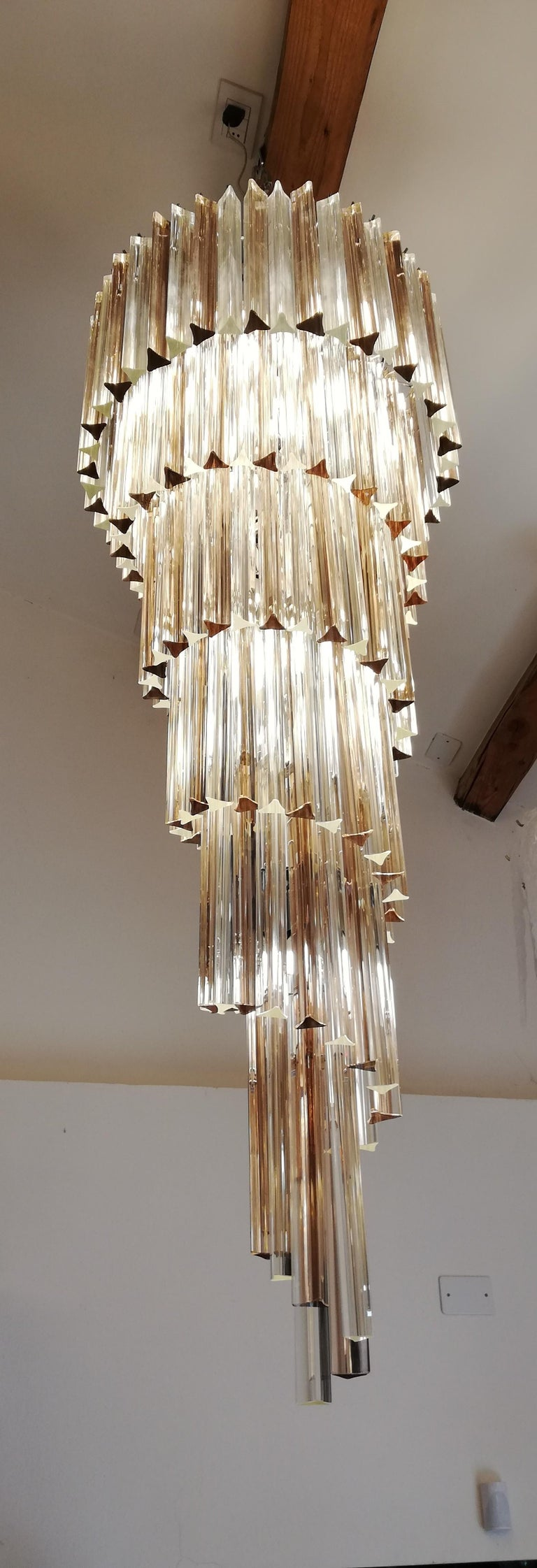Camer Glass Mid-Century Modern Crystal Amethyst Triedri Murano Chandelier, 1980 For Sale 13