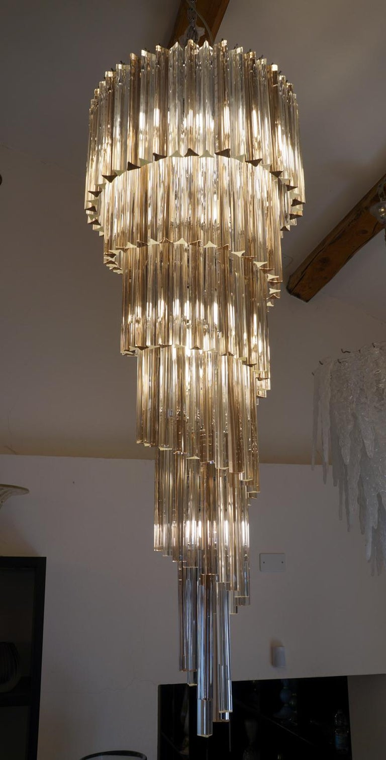 Camer Glass Mid-Century Modern Crystal Amethyst Triedri Murano Chandelier, 1980 For Sale 2