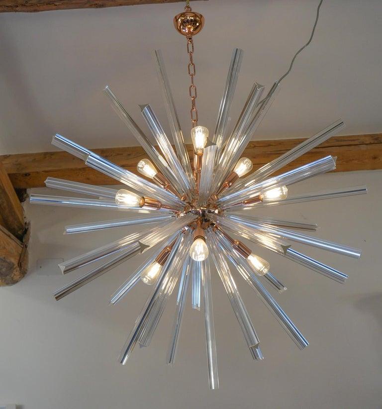 Camer Glass Mid-Century Modern Crystal Murano Chandelier Sputnik, 1982 For Sale 4