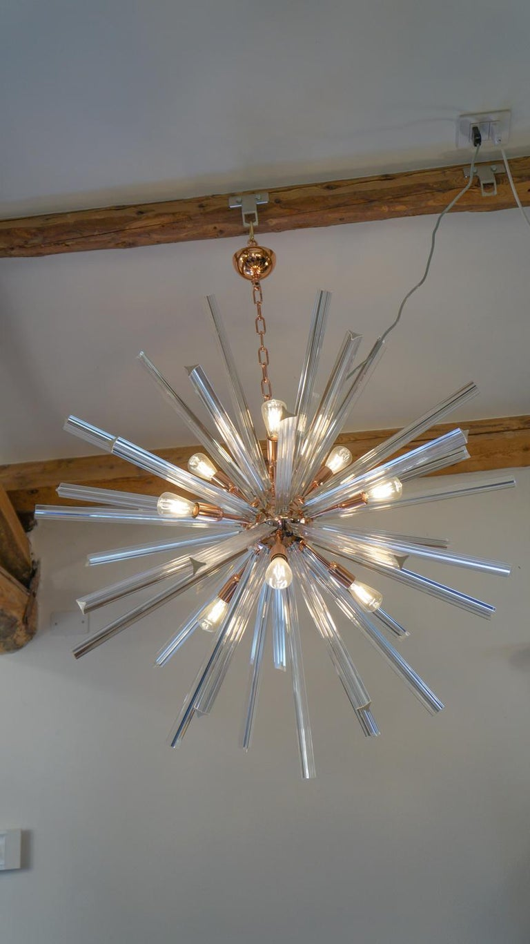 Camer Glass Mid-Century Modern Crystal Murano Chandelier Sputnik, 1982 For Sale 5