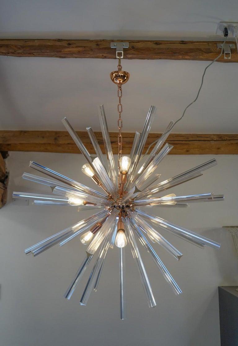 Camer Glass Mid-Century Modern Crystal Murano Chandelier Sputnik, 1982 For Sale 6
