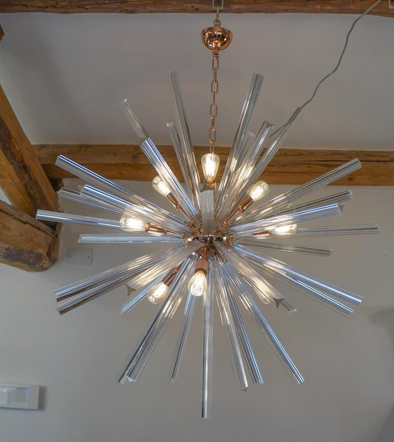Camer Glass Mid-Century Modern Crystal Murano Chandelier Sputnik, 1982 For Sale 7