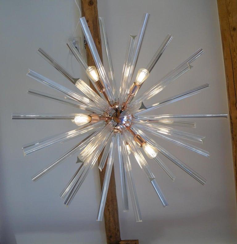 Camer Glass Mid-Century Modern Crystal Murano Chandelier Sputnik, 1982 For Sale 8
