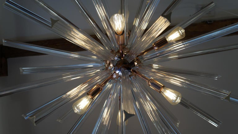 Camer Glass Mid-Century Modern Crystal Murano Chandelier Sputnik, 1982 For Sale 9