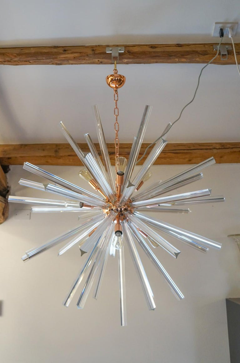 Camer Glass Mid-Century Modern Crystal Murano Chandelier Sputnik, 1982 For Sale 10