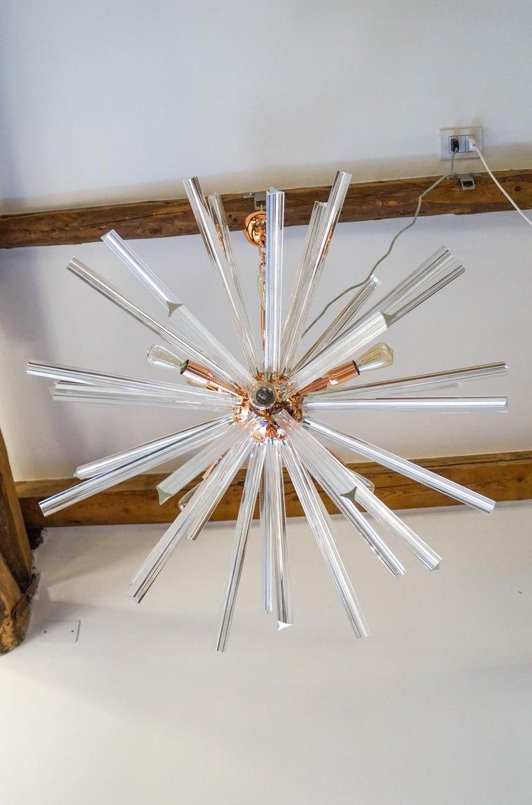 Italian Camer Glass Mid-Century Modern Crystal Murano Chandelier Sputnik, 1982 For Sale