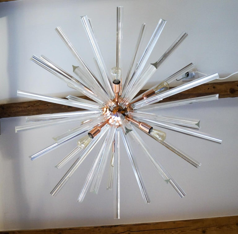 Hand-Crafted Camer Glass Mid-Century Modern Crystal Murano Chandelier Sputnik, 1982 For Sale