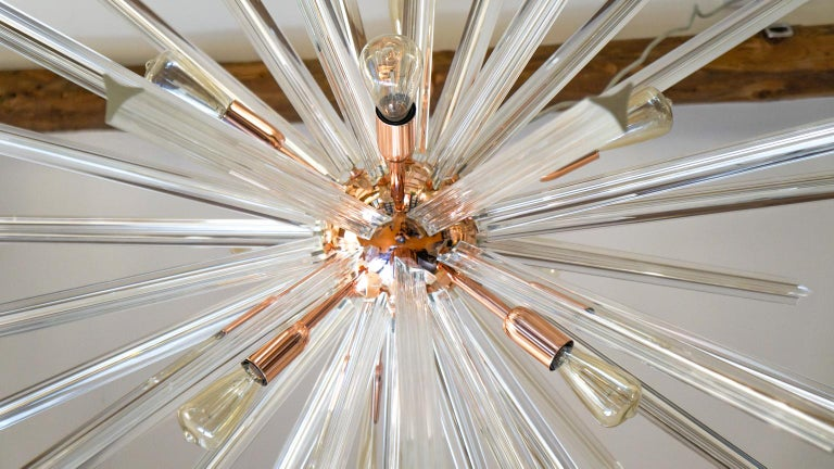Camer Glass Mid-Century Modern Crystal Murano Chandelier Sputnik, 1982 In Excellent Condition For Sale In Murano, Venezia