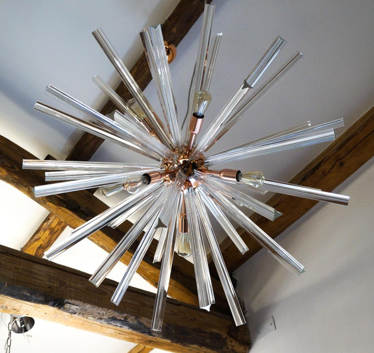 Late 20th Century Camer Glass Mid-Century Modern Crystal Murano Chandelier Sputnik, 1982 For Sale