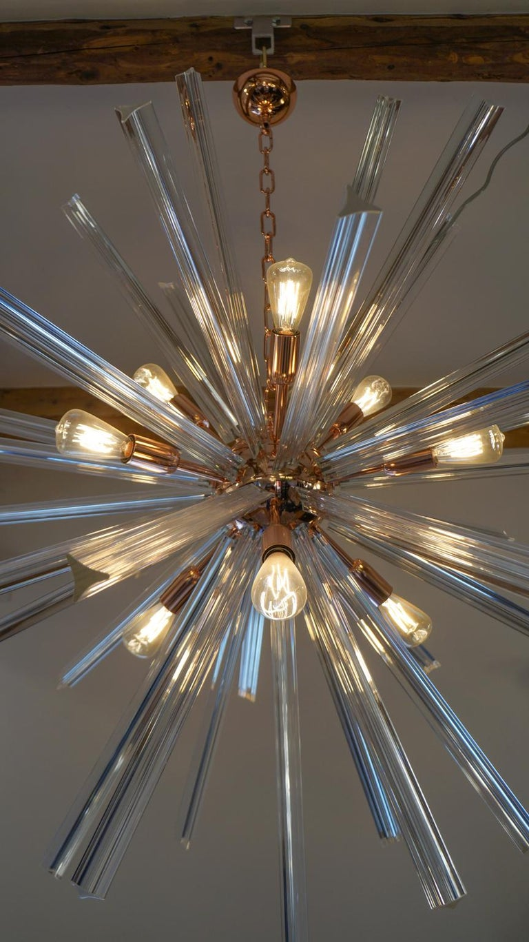 Camer Glass Mid-Century Modern Crystal Murano Chandelier Sputnik, 1982 For Sale 2