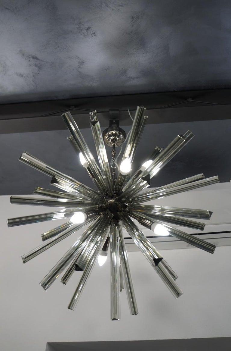 Camer Glass Mid-Century Modern Gray Triedri Murano Chandelier Sputnik, 1982 For Sale 3