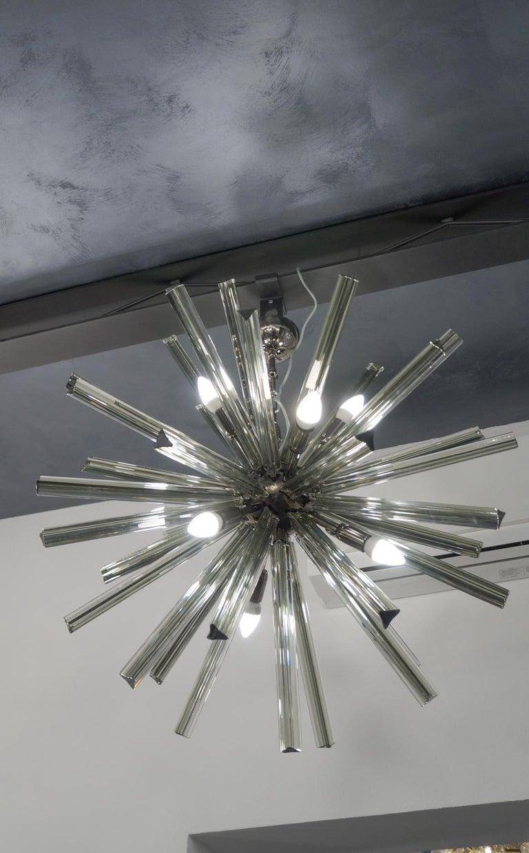 Camer Glass Mid-Century Modern Gray Triedri Murano Chandelier Sputnik, 1982 For Sale 5