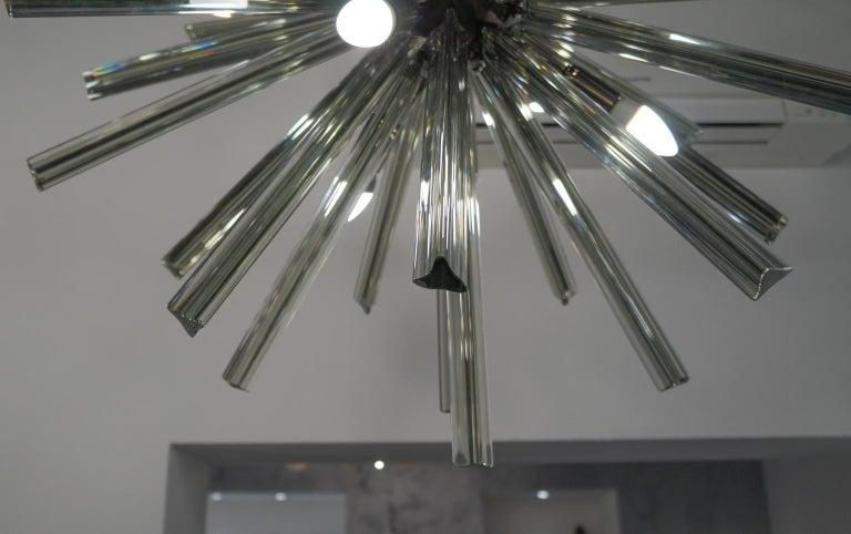 Camer Glass Mid-Century Modern Gray Triedri Murano Chandelier Sputnik, 1982 For Sale 6
