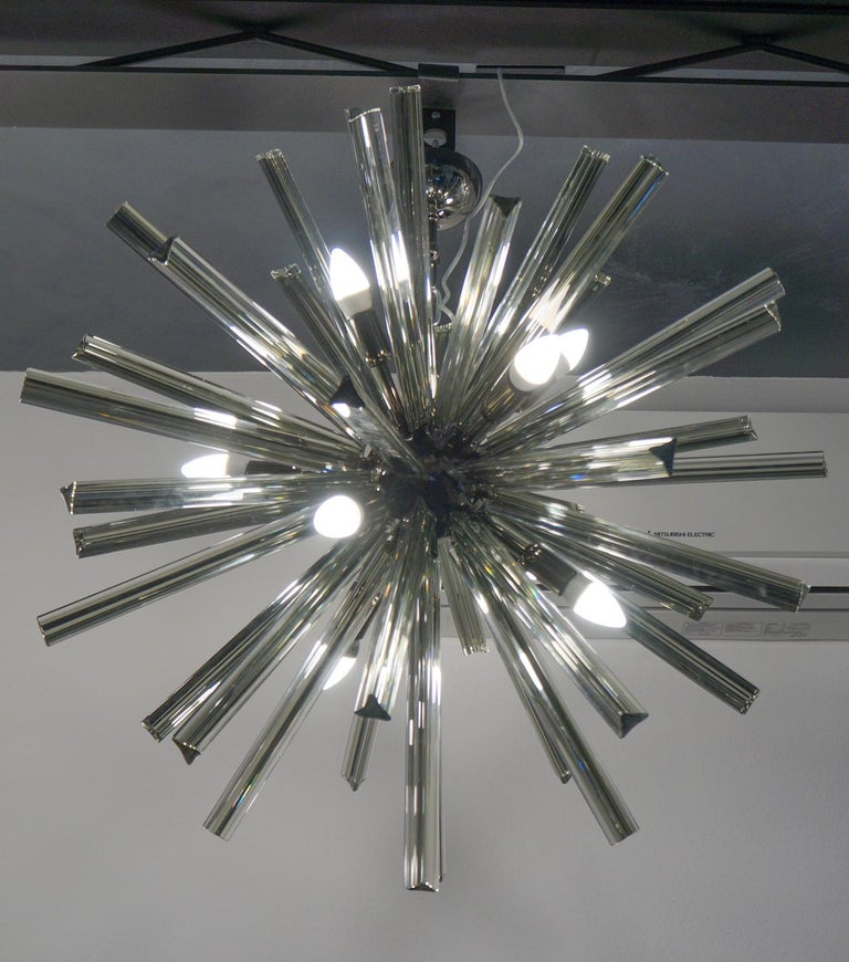 Camer Glass Mid-Century Modern Gray Triedri Murano Chandelier Sputnik, 1982 For Sale 9