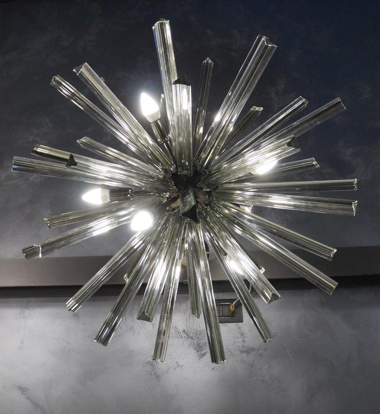 Camer Glass Mid-Century Modern Gray Triedri Murano Chandelier Sputnik, 1982 For Sale 11