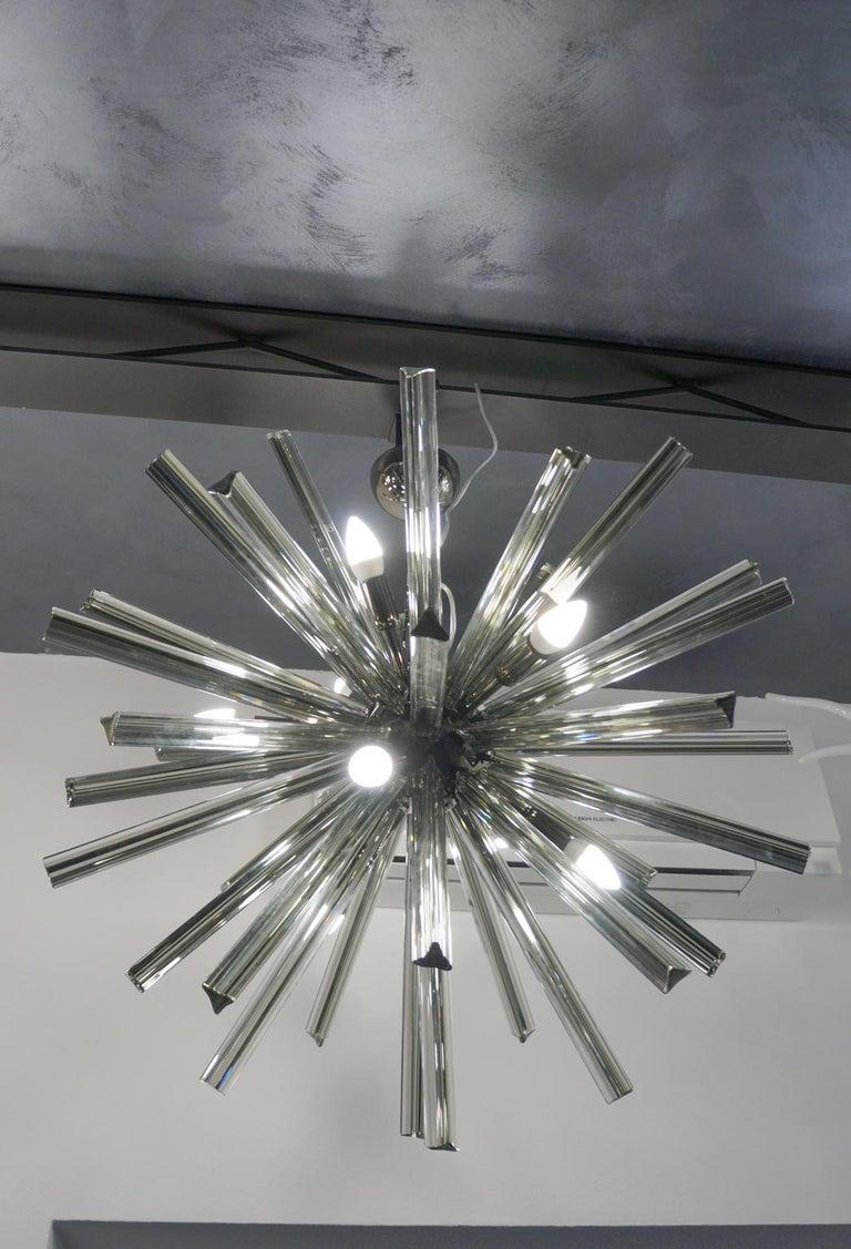 Camer Glass Mid-Century Modern Gray Triedri Murano Chandelier Sputnik, 1982 For Sale 12