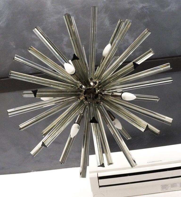 Camer Glass Mid-Century Modern Gray Triedri Murano Chandelier Sputnik, 1982 For Sale 13