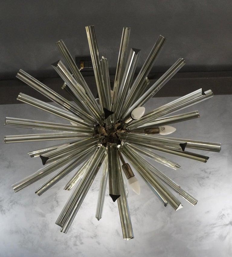 Italian Camer Glass Mid-Century Modern Gray Triedri Murano Chandelier Sputnik, 1982 For Sale