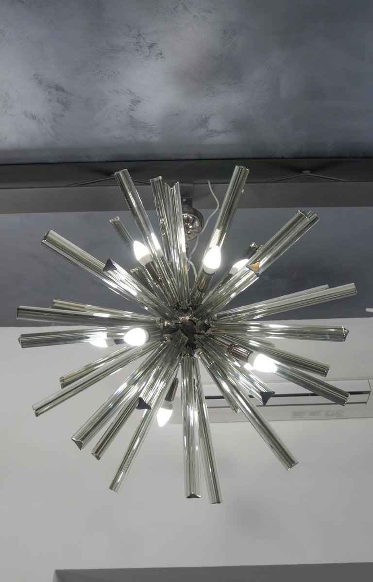 Camer Glass Mid-Century Modern Gray Triedri Murano Chandelier Sputnik, 1982 For Sale 2