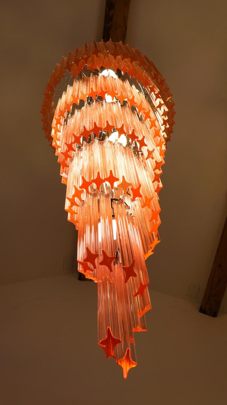 Camer Glass Mid-Century Modern Pink Spiral Triedri Murano Chandelier, 1980 For Sale 3