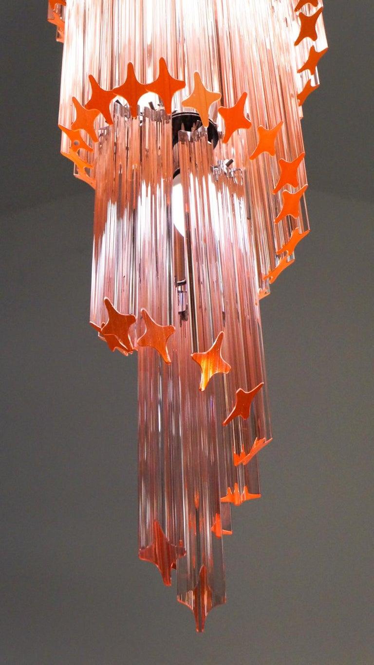 Camer Glass Mid-Century Modern Pink Spiral Triedri Murano Chandelier, 1980 For Sale 7