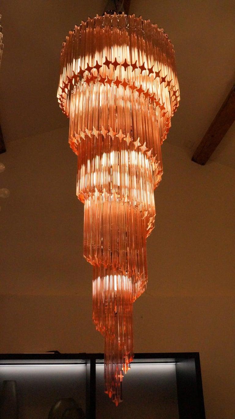 Camer Glass Mid-Century Modern Pink Spiral Triedri Murano Chandelier, 1980 For Sale 8