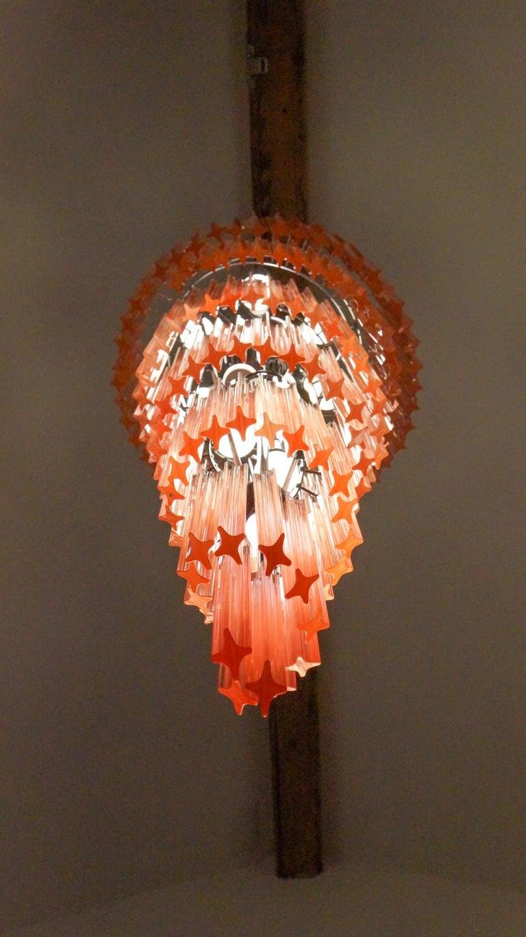 Camer Glass Mid-Century Modern Pink Spiral Triedri Murano Chandelier, 1980 For Sale 11