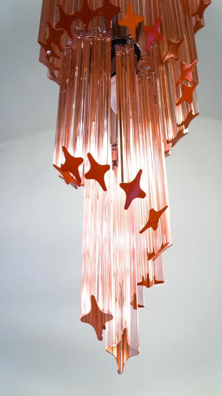 Hand-Crafted Camer Glass Mid-Century Modern Pink Spiral Triedri Murano Chandelier, 1980 For Sale