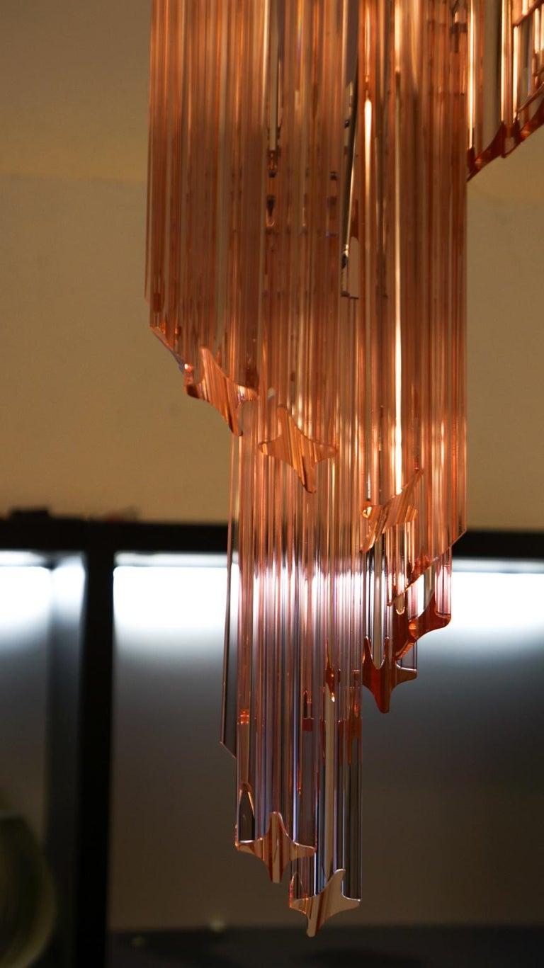 Camer Glass Mid-Century Modern Pink Spiral Triedri Murano Chandelier, 1980 For Sale 1