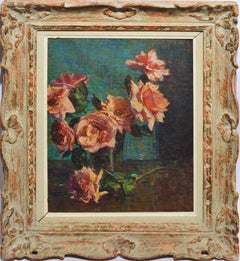 Antique American 1933 Modernist Rose Still Life Oil Painting by Cameron Burnside