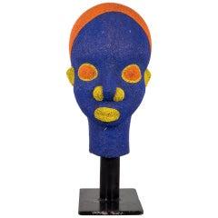 Cameroon Bamun African Beaded Head on Custom Stand